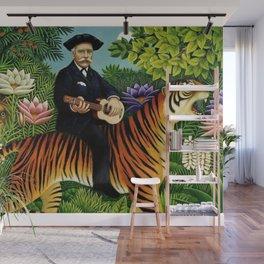 Henri Rousseau Dreaming of Tigers tropical big cat jungle scene by Henri Rousseau Wall Mural