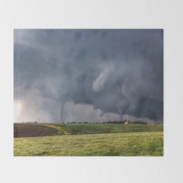 Twins - Two Tornadoes Touch Down Near Dodge City Kansas Throw Blanket