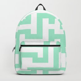 White and Magic Mint Green Labyrinth Backpack