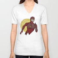 the flash V-neck T-shirts featuring Flash by Charleighkat