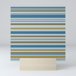 Stripey Design Gold Cream Brown Blues Mini Art Print
