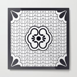 Japanese design flower pattern Metal Print