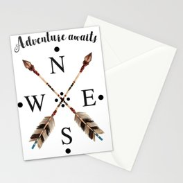 Cardinal directions Compass Arrows Adventure awaits Typography Stationery Cards