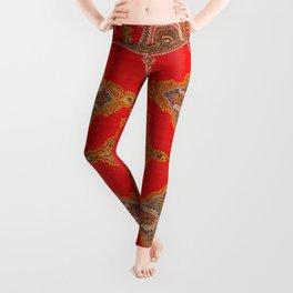 Kirman  Antique South Persian Embroidery Print Leggings