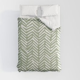 Boho, Abstract, Herringbone Pattern, Sage Green and White Comforters