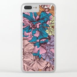 Petunia flowers in vintage style. Vector illustration Clear iPhone Case