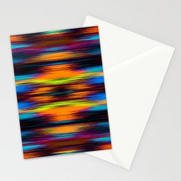 vintage psychedelic geometric abstract pattern in orange brown blue yellow Stationery Cards