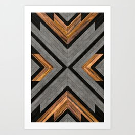 Urban Tribal Pattern 2 - Concrete and Wood Art Print