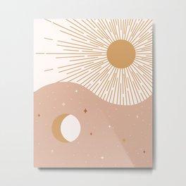 Yin Yang Blush - Sun & Moon Metal Print