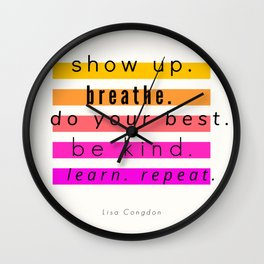 Show Up Motivational Quote Wall Clock