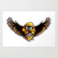 Happy Cycloptic Dog Eagle with a Stache Art Print