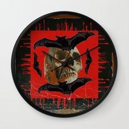 GRUNGY HALLOWEEN BAT INFESTED HAUNTED SKULL Wall Clock