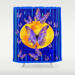 Lilac Patterned Butterfly Full Moon Abstract Shower Curtain