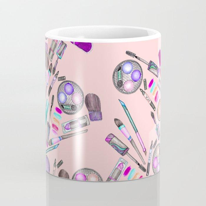 Girly Girl Hand Painted Watercolor Makeup on Pink Coffee Mug