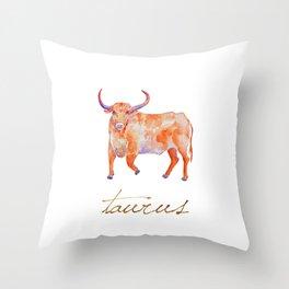 Watercolor Taurus Bull Throw Pillow