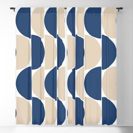 Navy and Tan Half moon, Cross and Stripes design Blackout Curtain