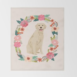 golden retriever dog floral wreath dog gifts pet portraits Throw Blanket