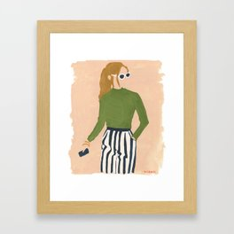 Olive in Stripes Framed Art Print