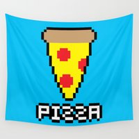 8 bit Wall Tapestries featuring 8-Bit Pizza by Katie White