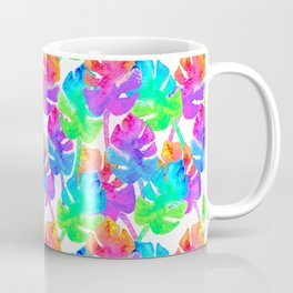 Watercolor Monstera Leaves in Neon Rainbow + White Coffee Mug