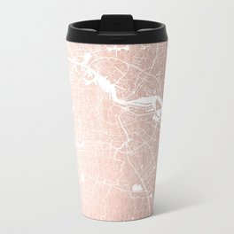 Amsterdam Rosegold on White Street Map Metal Travel Mug