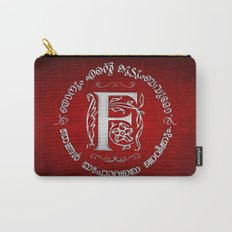 Joshua 24:15 - (Silver on Red) Monogram F Carry-All Pouch