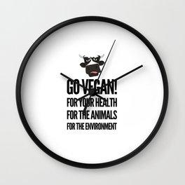 Go vegan! veganism food gift idea Wall Clock