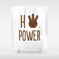 kendrick lamar Shower Curtains featuring HiiiPower (w/text) : Chocolate by yumgsta