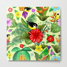 Birds and Nature Floral Exotic Seamless Pattern Metal Print