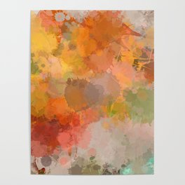 Modern contemporary Yellow Orange Abstract Poster