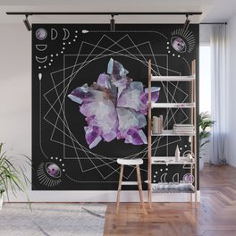 Crystal Totem Line Work Occult Tattoo Style Illustration Wall Mural