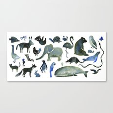 Animals in Black (and blue) Canvas Print