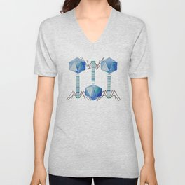 Bacteriophage 2, Science art, science, virus, microbiology, virology, geekery, science illustration Unisex V-Neck