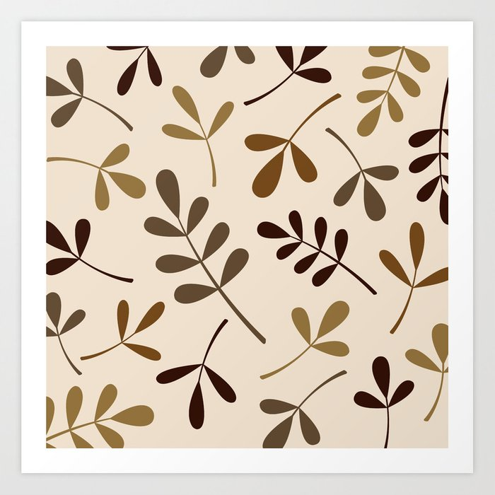 Assorted Leaf Silhouettes Gold Browns Cream Art Print