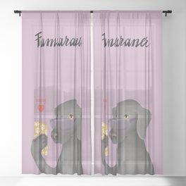 Famearaner (Pink Background) Sheer Curtain