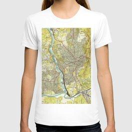Vintage Map of Asheville North Carolina (1943) T-shirt