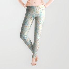 Colorful dinosaur pattern on white Leggings