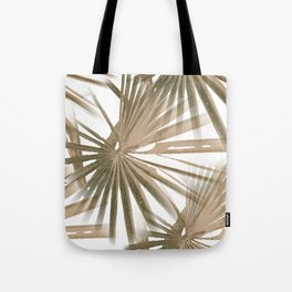 Brown on White Tropical Vibes Beach Palmtree Vector Tote Bag