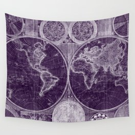 World Map (1794) Purple & White Wall Tapestry