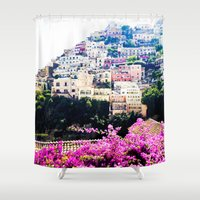 italy Shower Curtains featuring Positano, Italy by AllieMarieTravels