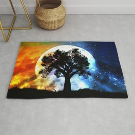 Glowing planet over starry sky and big tree Rug