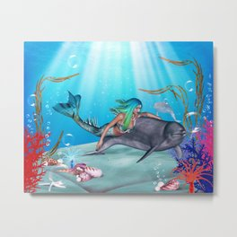 The Mermaid And The Dolphin Metal Print