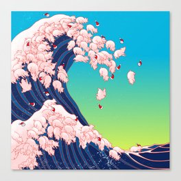 Christmas Baby Pigs The Great Wave in Blue Canvas Print