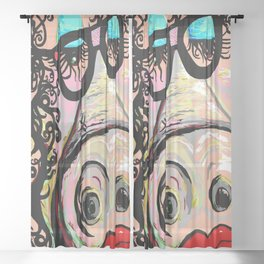 Hipster Pig Sheer Curtain