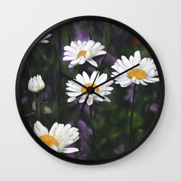 Garden Daisies Wall Clock
