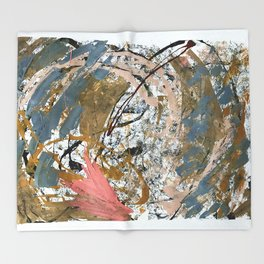 Symphony [2]: colorful abstract piece in gray, brown, pink, black and white Throw Blanket