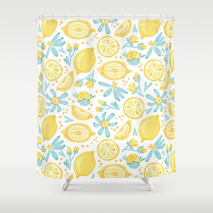Lemon Pattern White Shower Curtain