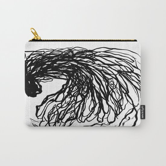 Black and white abstract brushstroke modern minimal monochromatic art print home decor college dorm Carry-All Pouch