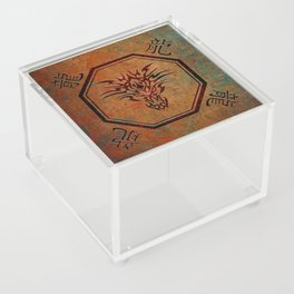 Tribal Dragon Head In Octagon With Dragon Chinese Characters Acrylic Box