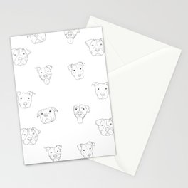 White pit bull love Stationery Cards